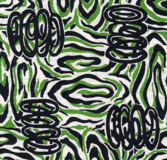 green and black swirly fabric