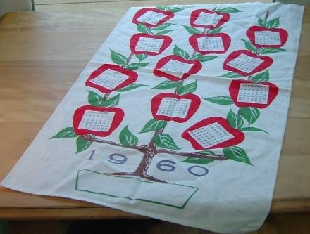 startex 1960 calendar tea towel