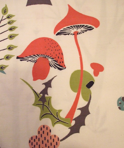 vintage mushroom waverly fabric