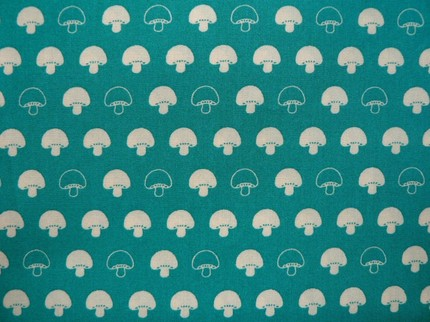 white mushrooms on blue-green fabric - japanese