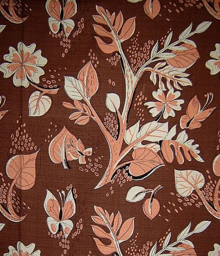 Length of Brown Barkcloth with Peach Butterflies