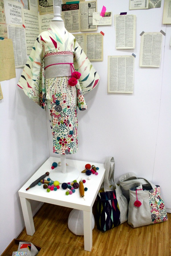 Rashida Coleman Hale booth kimono and totes True UP